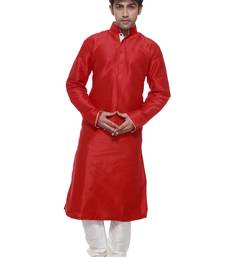 Buy BRIGHT RED DESIGNER KURTA WITH WHITE PIPING pakistani-sherwani online