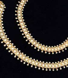 Buy Glowing Pearl Teardrop Payal Copper traditional Anklet India Bridal Jewelry anklet online