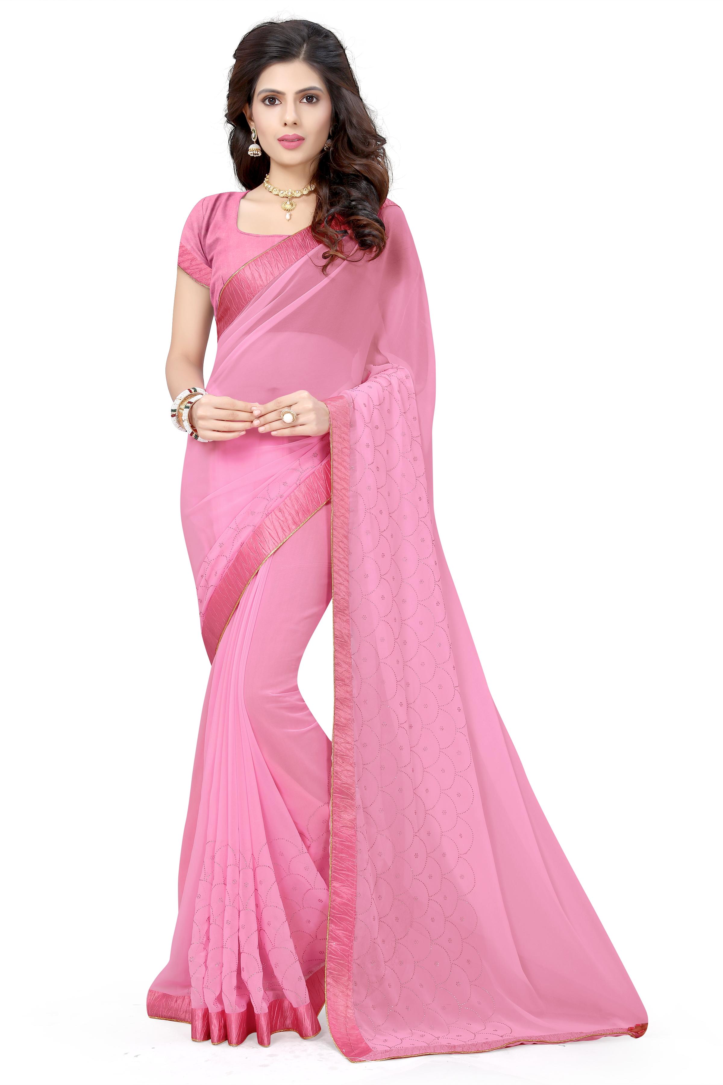 08ecc8b3d32c0e Baby pink plain georgette saree with blouse - RIVA ENTERPRISE - 2510989