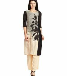 Cream printed silk stitched kurti