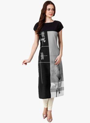 Black Printed Silk Stitched Kurti