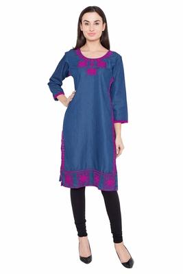 Blue embroidered Denim  kurti