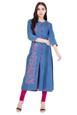 Light blue embroidered Denim  kurti