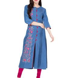 Light blue embroidered Denim  kurti