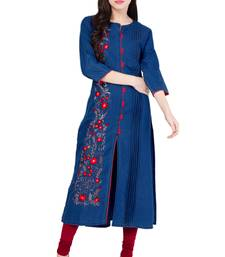 Buy Dark blue embroidered Denim  kurti kurtas-and-kurtis online