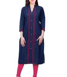 Blue embroidered Denim  kurti