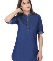 Buy Dark blue plain Denim short-kurtis short-kurtis online