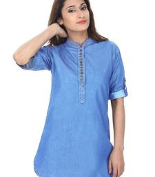 Light blue plain Denim short kurtis