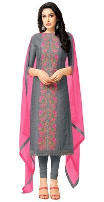 Charcoal Resham Embroidery Chanderi Salwar With Dupatta