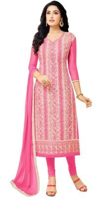Pink Resham Embroidery Chanderi Salwar With Dupatta