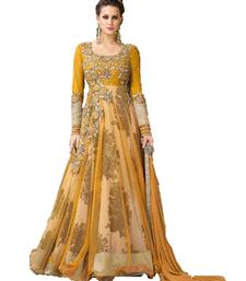 Buy Yellow zari net salwar with dupatta anarkali-salwar-kameez online