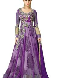 Buy Purple zari net salwar with dupatta anarkali-salwar-kameez online