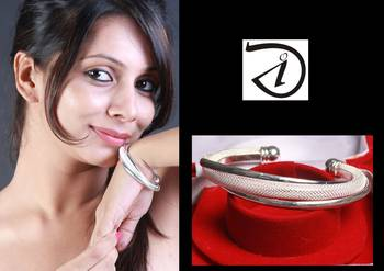 Diovanni Finely Textured Solid silver Open Bangle with Dual Alloy Steel Bangles Blended Together