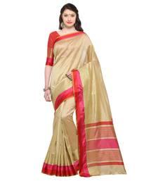 Buy cream woven silk saree with blouse silk-saree online