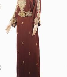 Brown Zari Stone Work Georgette Islamic Style Maxi PartyWear Farasha