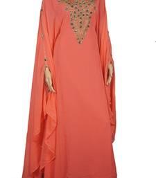 Peach Zari Stone Work Georgette Islamic Style Maxi PartyWear Farasha