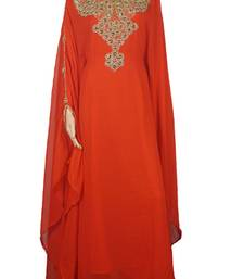 Orange Zari Stone Work Georgette Islamic Style Maxi PartyWear Farasha