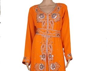 Orange Zari Stone Work Georgette Islamic Style Maxi PartyWear Kaftan