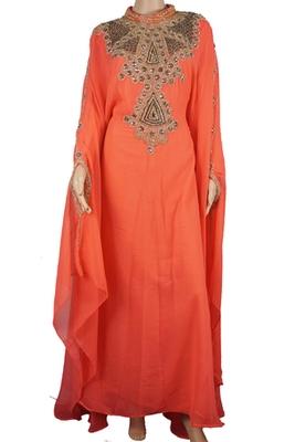 Orange Zari Stone Work Georgette Islamic Style Maxi PartyWear Abaya