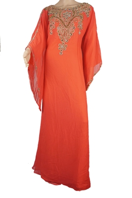 Orange Zari Stone Work Georgette Islamic Style Maxi PartyWear Farasha