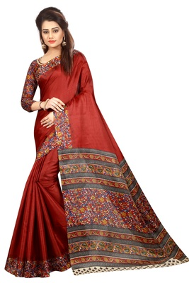 Maroon printed khadi saree with blouse