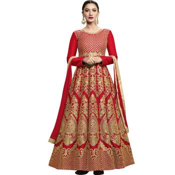 Red embroidered silk salwar