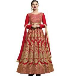 Buy Red embroidered silk salwar anarkali-salwar-kameez online