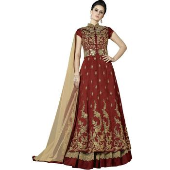 Maroon Embroidered Silk Anarkali Suit