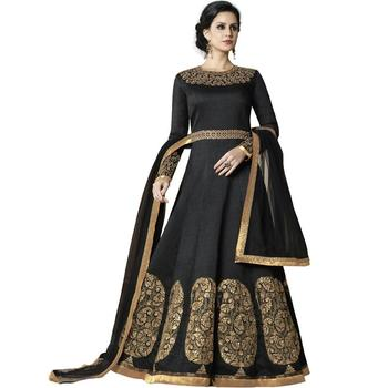 Black embroidered silk Anarkali Suit