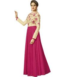 Magenta embroidered silk long-kurtis