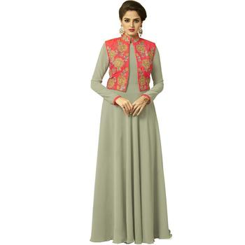 Lime embroidered georgette long-kurtis