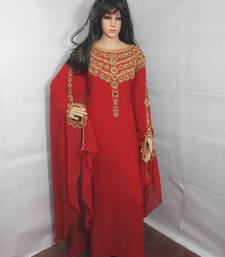 Red Zari Work Stones and Crystal Embedded Georgette Islamic Maxi Arabian Party Wear Farasha
