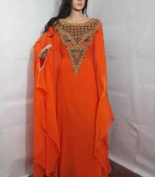 Orange Zari Work Stones and Crystal Embedded Georgette Islamic Maxi Arabian Party Wear Farasha