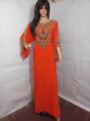 Orange Zari Work Stones and Crystal Embedded Georgette Islamic Maxi Arabian Party Wear Farasha