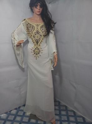 White Zari Work Stones and Crystal Embedded Georgette Islamic Maxi Arabian Party Wear Farasha