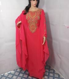 Pink Zari Work Stones and Crystal Embedded Georgette Islamic Maxi Arabian Party Wear Farasha