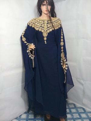 Blue Zari Work Stones and Crystal Embedded Georgette Islamic Maxi Arabian Party Wear Farasha