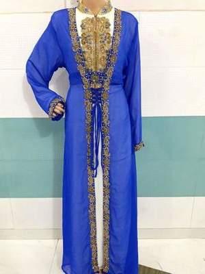 White and Blue Zari Work Stones and Crystal Embedded Georgette Islamic Maxi Arabian Party Wear Kaftan