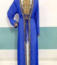 White and Blue Zari Work Stones and Crystal Embedded Georgette Islamic Maxi Arabian Party Wear Kaftan