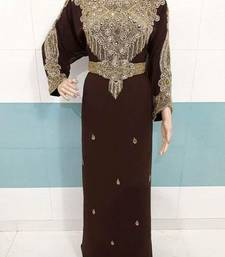 Brown Zari Work Stones and Crystal Embedded Georgette Islamic Maxi Arabian Party Wear Farasha