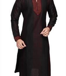 Buy Black Silk Zari Zardosi Kurta Pajama wedding-season-sale online