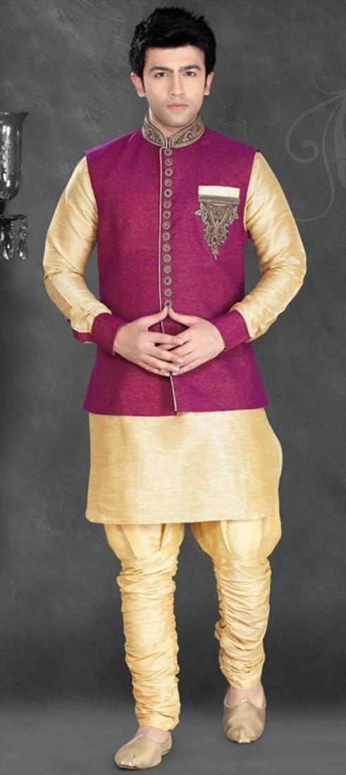 Buy Gold Silk Zari Zardosi Kurta Pajama With Nehru Jacket Online