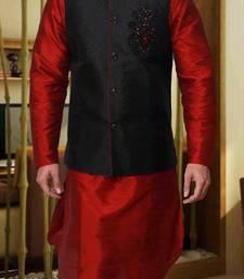Buy Maroon Silk Zari Zardosi Kurta Pajama with Nehru Jacket nehru-jacket online