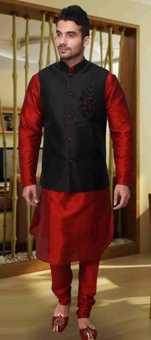 Buy Maroon Silk Zari Zardosi Kurta Pajama With Nehru