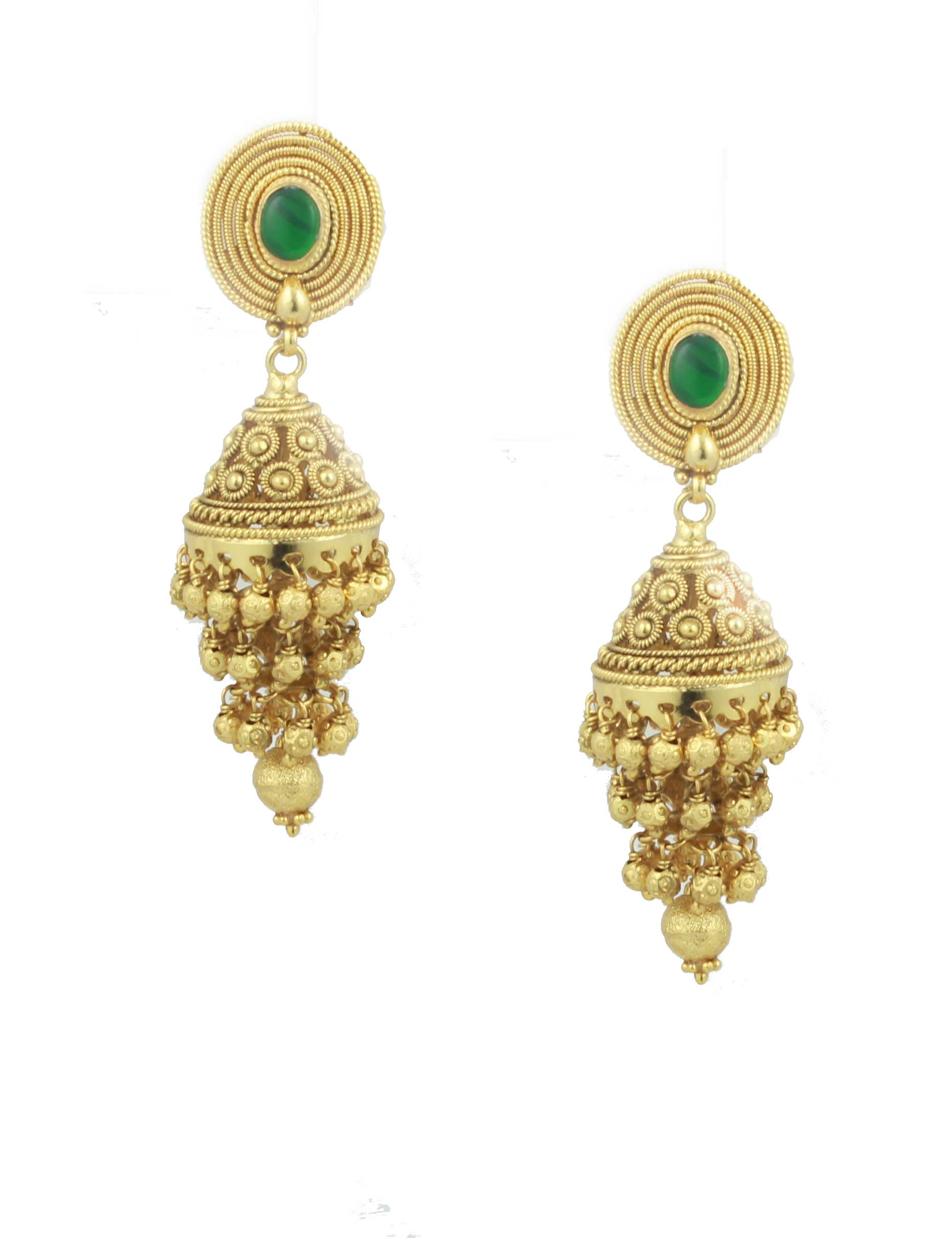 Buy three step green jhumki earrings green stone online