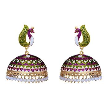 0f6e55610b Rajasthani Meenakari peacock shape brass gold pated designer big tokra  jhumka earring set for lovers,girls and women - MK Jewellers - 2514746