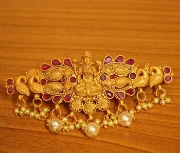 Ruby Matt Gold Temple Jewellery Pearl Hair Clip