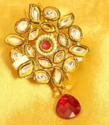 Buy Kundan Meenakari Ruby Brooch brooch online