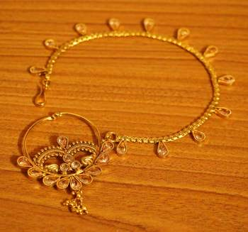 Gold Polki Studded Bridal Nose Ring