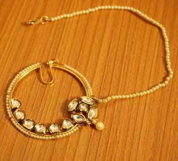 Kundan Polki Bridal Look Pearl Nose Ring